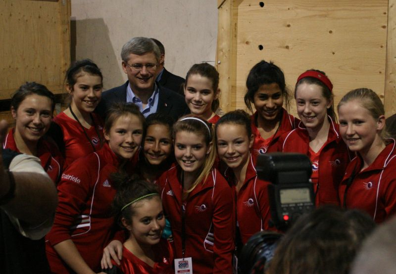 OFVC Girls and the PM at Provincials in KW
