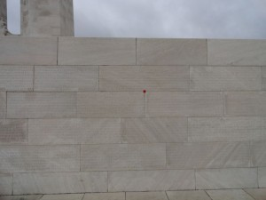 I brought a poppy with me and left it in the name wall at Vimy Ridge