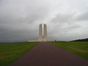 Approach view from backside of the Vimy Memorial